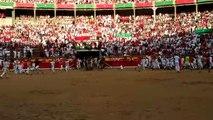 Llegada de los toros de Cebada Gago a la Plaza de Toros de Pamplona.