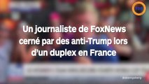 Un journaliste cerné par des anti-trump en duplex en France