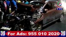 LORRY HIT A CAR AT TANDUR FLYOVER   | T TV NEWS | 02.07.2019