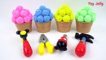 Learn Colors with Play Foam Sand Balls 4 Ice Cream Cups Miraculous Ladybug Kinder Joy Surprise Eggs