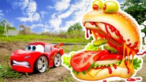 Superman Protect Disney Car Lighting McQueen From Monster Hamburger - Car Toys Video For - Children--