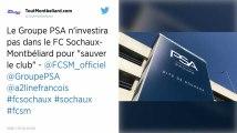 Ligue 2 : PSA a refusé l'appel à l'aide pour sauver le FC Sochaux-Montbéliard