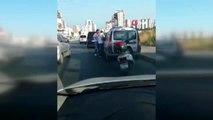 Arabanın camından şoförü darp etti, yoldan geçen sürücüler müdahale etti