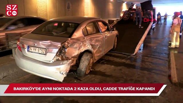 Bakırköy'de aynı noktada 2 kaza, cadde trafiğe kapandı