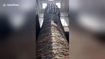 Textbooks weighing 14 tonnes built into 11-metre-high book tower in China's Xi'an