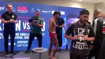 Behind-the-scenes weigh-in for Khan and Dib ahead ahead of Jeddah bout