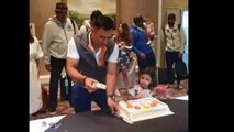Cutie Ziva Dhoni ADORABLE Tips on Cake Cutting as MS Dhoni celebrates birthday with India teammates