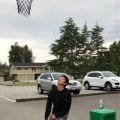 Guy Adds Twist to Bottle Cap Challenge by Using a Basketball