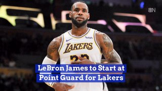 Lebron James On The Court For LA