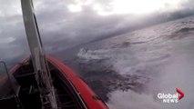 Vùng biển quốc tế gần Colombia ở phía Đông Thái Bình Dương ngày 18/06/2019: Cảnh Lực lượng Tuần duyên Mỹ ( U.S. Coast Guard ) truy đuổi và bắt giữ một tàu ngầm buôn lậu ma túy mang theo gần 8 tấn cocaine cùng 5 nghi phạm