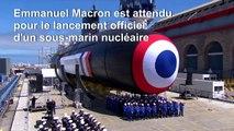 Emmanuel Macron lance le sous-marin nucléaire Suffren