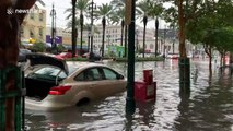 Cars abandoned after Storm Barry submerges New Orleans road
