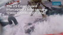 Heart-pounding video shows a badass Coast Guardsman running down a narco-sub loaded with cocaine and pounding on the hatch