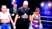 В ходе боя у девушки выпадает с футболки грудь