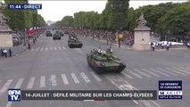14-Juillet: Le 12e régiment de cuirassiers et leurs chars Leclerc descendent les Champs-Élysées