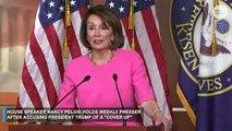 House Speaker Nancy Pelosi holds a press...