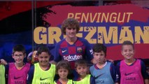 Antoine Griezmann presented at Barcelona after completing his move from Atletico Madrid