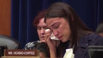 Alexandria Ocasio-Cortez tears up while hearing story of child who died after being held by ICE