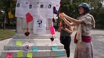 A group of Mexican women knit hearts to honour the memory of those murdered