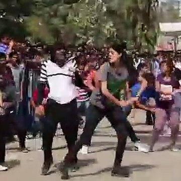 College girl dancing flash mob