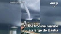 Corse: spectaculaire trombe marine au large de Bastia
