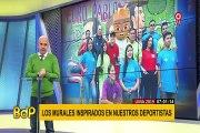 Lima 2019: pintan murales de deportistas peruanos en frontis del estadio de Surquillo