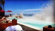 Des vagues énormes viennent détruire une piscine à Bali