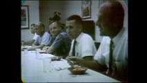 Apollo 11 astronauts share a meal before their historic mission