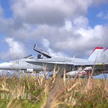 U.S. Marines launch and rearm F/A-18C Hornets at Guam