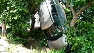एक्सीडेंट हुआ ऐसा कि पेड़ पर चढ़कर लटक गई कार, बच गई लोगों की जान