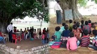 25 साल से पीपल के पेड़ के नीचे चल रहा सरकारी स्कूल, बारिश में सताता  है  सांप—बिच्छू का डर