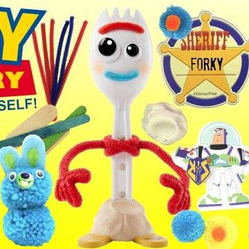 Toy Story 4 FORKY Creativity Set Make Your Own Buzz Lightyear Pom Pom Bunny - Ducky-