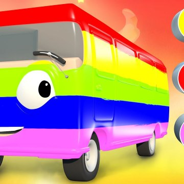 Learn Colors - Finger Family Song with Bus Paint - Panda Bo Nursery Rhymes Classics
