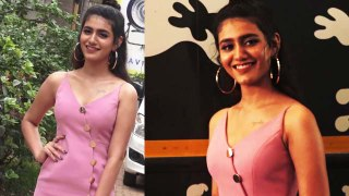 Priya Prakash Varrier looks glamorous in spaghetti dress at Sridevi Bungalow event | FilmiBeat