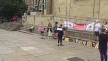 The protest in Leeds City Centre today.