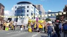 Extinction Rebellion protesters on Victoria Bridge, Leeds city centre.