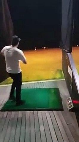 -Chucking two golf balls at him