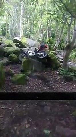Trail bike rock climb fail