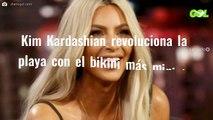 """Kim Kardashian revoluciona la playa con el bikini más mini (y """"¡loco!"""") del verano"""