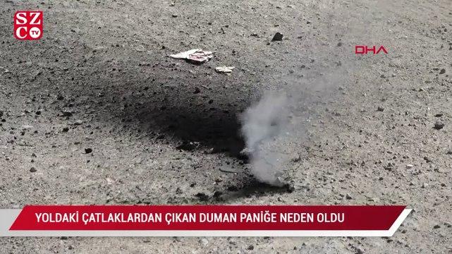 Sultangazi'de yoldanki çatlaklardan çıkan dumanlar paniğe neden oldu