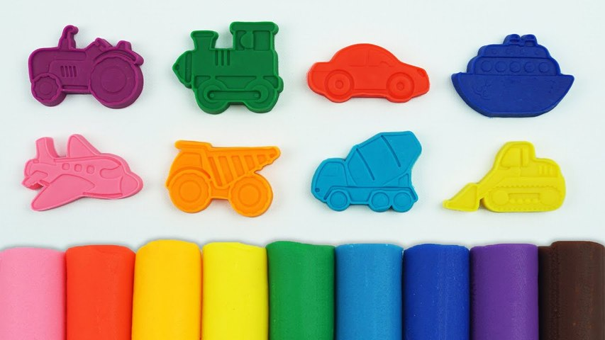 Play and Learn Colours with Play Doh Modelling Clay with Cookie Cutters