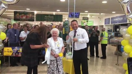Freda France, 88, officially reopens the revamped Morrisons in Ecclesfield, which she has visited for lunch every weekday since her husband died 22 years ago