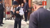 Jacob Rees Mogg Confronted by Protestors