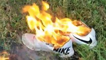 Burning Nike trainers protest