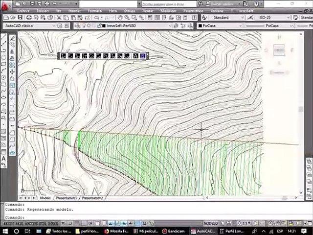 Como hallar la seccion de un terreno y dibujar el perfil longitudinal en AutoCAD con InnerSoft CAD.