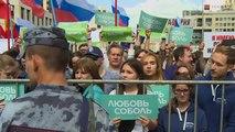 """الآلاف يتظاهرون بموسكو ضد """"منع"""" المعارضة من المشاركة السياسية"""