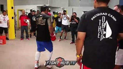 DOPE- MANNY PACQUIAO MIMICS BRUCE LEE KICKS IN FINAL WORKOUT FOR THURMAN part 1/2