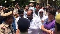 Priyanka Gandhi interacts with Uttar Pradesh Police in Mirzapur