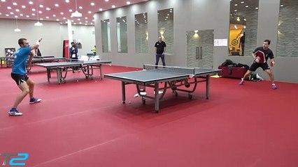 卓球 Timo Boll & Aleksandr Shibaev Backstage Training Pre-Team Championships Finals