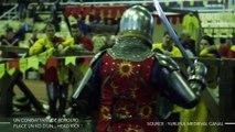 Un combattant de Béhourd, sport de combat médiéval, place un KO d'un... head kick !